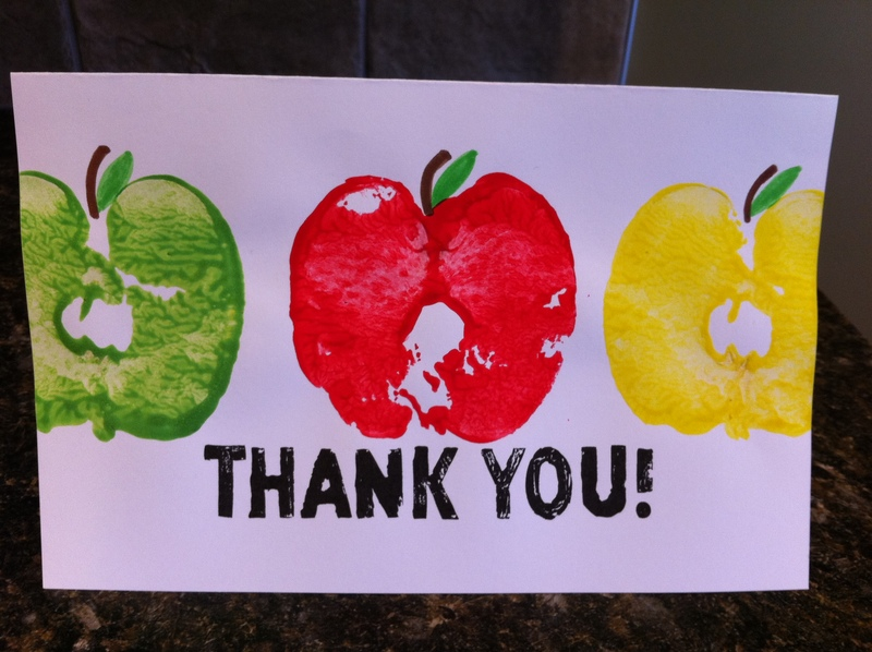 thank you teacher craft ideas apple stamp thank you card my kid craft 7229