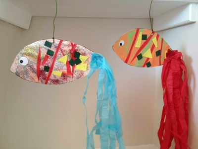 fish, craft, under 5, pre school, glue, stick, under the sea, mobile, fun, craft