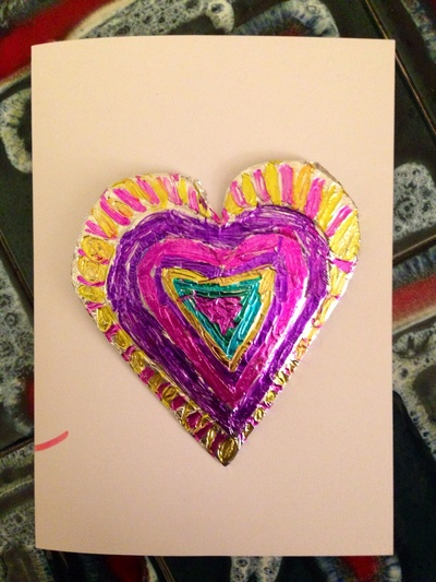 Foil heart, sharpies on foil, decorated foil shape, cheap valentines card, easy valentines card, heart card
