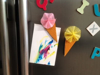 fun kids craft ice cream, gelato magnet on fridge, kids craft fridge magnet