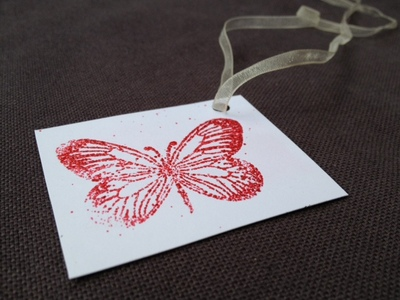gift tag, present, emboss, embossing powder, rubber stamp, butterfly, craft, heat gun, make your own wedding invitation, antic static wipe