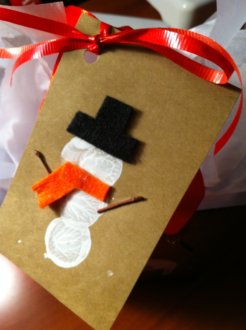 Gift tag  - Snowman Wine Cork Stamp Gift Tags