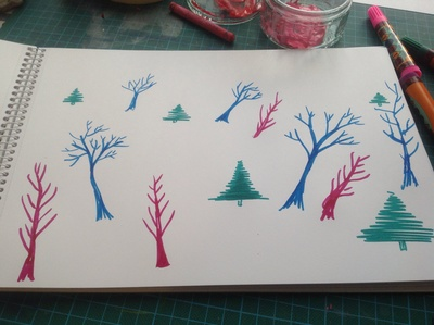 Blue trees, white paper