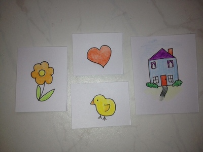 greeting card, easter card, chick, heart, valentine, house, kids, craft, sewing, zig zag, birthday card