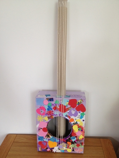 guitar, toy, cardboard, toddler, preschool, instrument, music