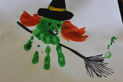 Hand print, witch, halloween, broomstick,