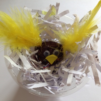 Homemade bird, bird craft, little chick, Easter craft, kids craft bird