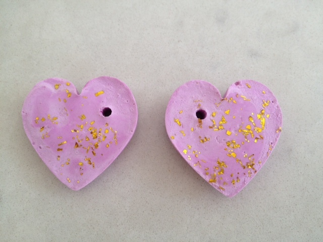 homemade charms, plaster of paris, heart, fish, hanging decoration, mothers day kids craft  - Cast Plaster Heart Charms