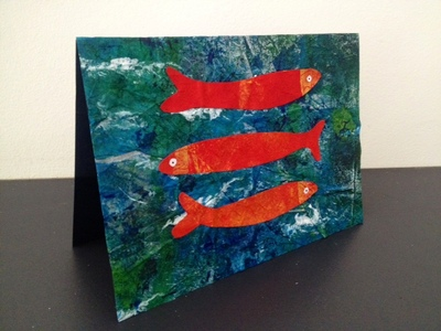 homemade greeting card, fish card, under the sea card, homemade birthday card, kids craft, eric carle painting technique