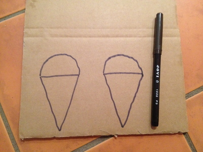 ice cream outline, ice cream paper craft, cardboard ice cream, kids craft icecream