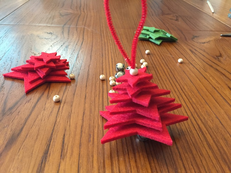Jingle bell, red pipe cleaner, red felt star, Christmas tree decoration  - Felt Star Christmas Tree Decoration