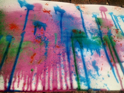 kids art craft messy paint splat spraying