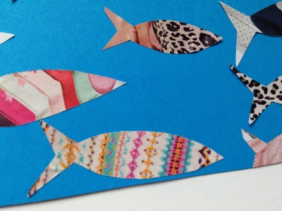 Magazine craft ideas, recycled craft kids, magazine collage, magazine fish collage, kids fish collage, preschooler recycled craft ideas