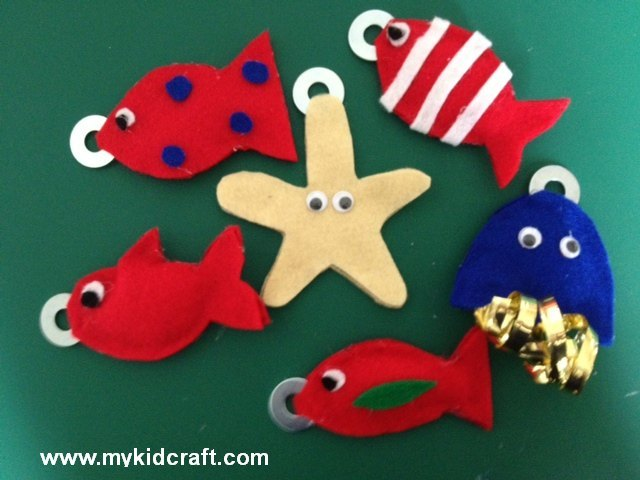 magnetic fishing toy, toy, fish, underwater, felt, starfish, game, jellyfish, magnet, make it yourself  - Magnetic Fishing Toy
