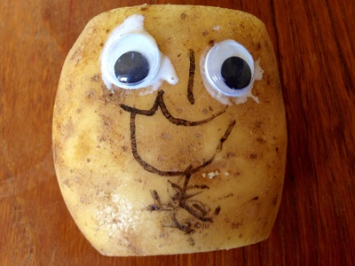 Making a potato head, kids craft potato head, growing seed on cotton wool in potato, google eyes potato head