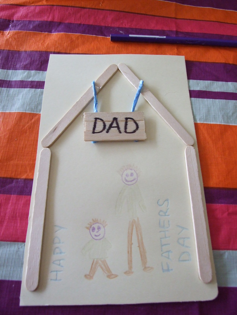 twine, popsicle stick, sign, dad  - Father's Day card