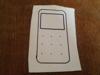 mobile phone template, kids craft phone outline