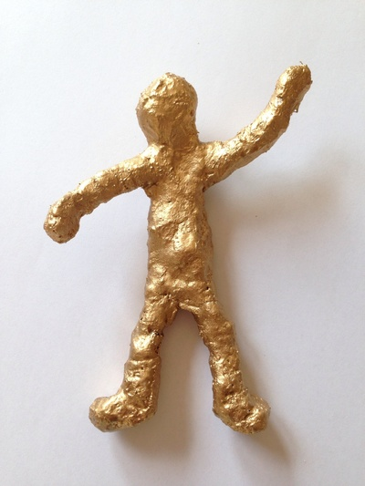 Modroc person, modroc figure, plaster bandages craft, things to make out of plaster bandages, plaster bandage craft tutorial, bronze effect sculpture craft