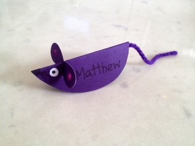 mouse name plate, mouse place setting, table place setting, mouse table name, kids place card, mouse place card, homemade party place cards, kids table decorations
