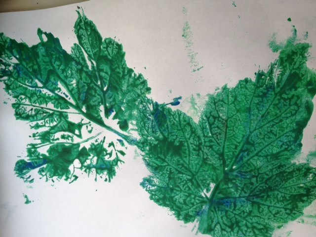 nature, printing, paint, leaf, leaves, feather, kids, preschool, toddler, art  - Nature Prints