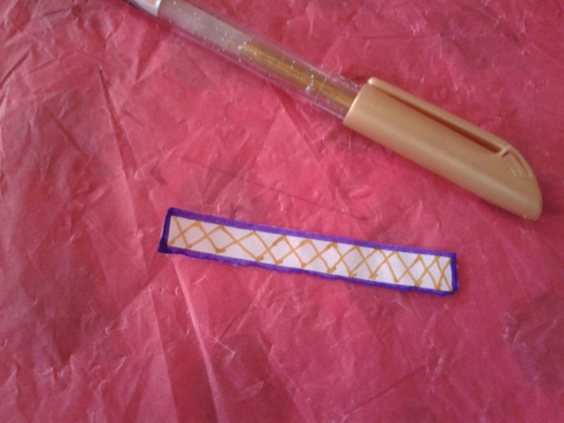 Outline the rectangle strip with sketch pen  - Paper Flower Ring
