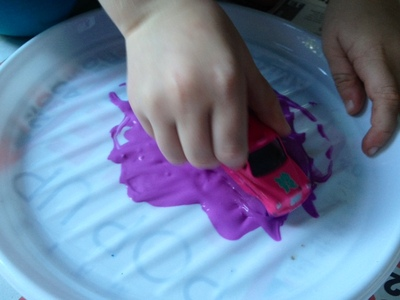 car tyre painting on box kids messy play idea