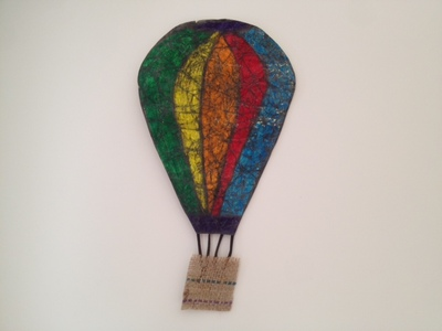 paper batik hot air balloon kids craft, non wax batik, batik for toddlers