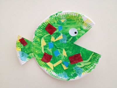 paper plate, fish, ocean, toddler, preschool, craft, kids