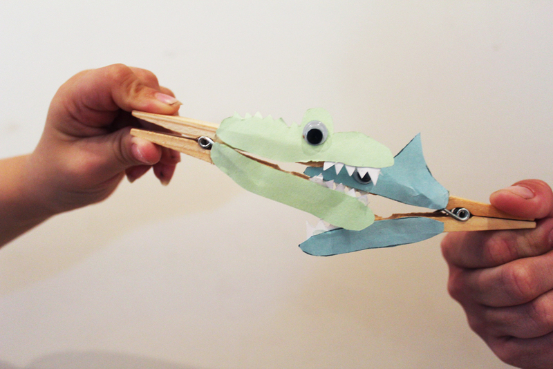 peg shark, peg crocodile, toothy critters, peg animals, kids craft activities  - Snapping Peg Critters