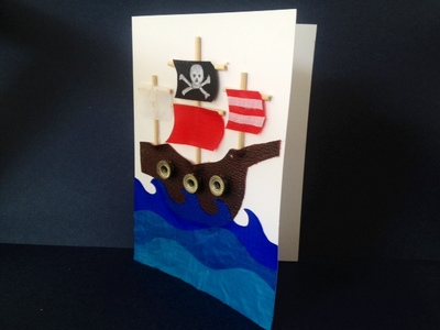 pirate ship birthday card greeting card homemade handmade