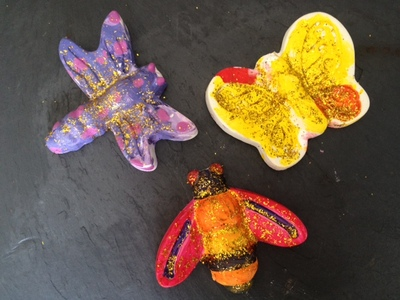 plaster of paris animals, bugs, homemade plaster objects, kids craft