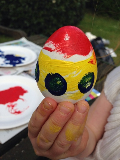 Plaster of Paris eggs, decorated egg, painted Easter egg, masking eggs from plaster, plaster of Paris egg