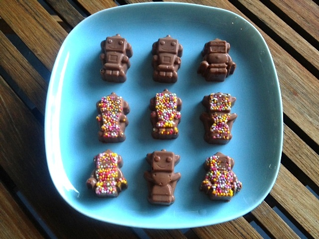 robot chocolates, homemade novelty chocolates, birthday party food, fun chocolate, homemade party treats, chocolate freckles, homemade chocolate treats, robot, chocolates
