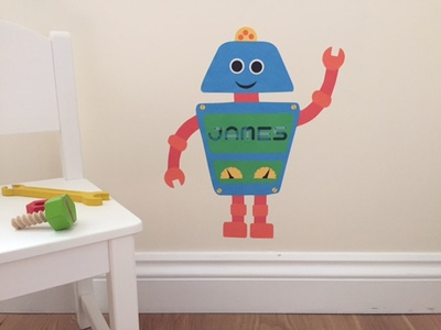 robot, customise, wall sticker, wall decal, matte fabric, nursery, kids room, nursery decor