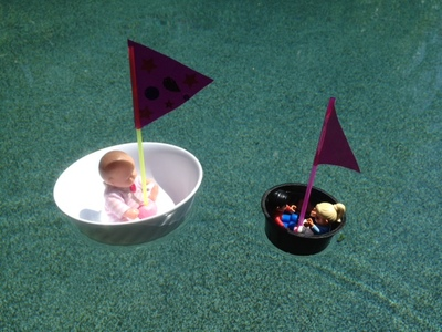 floating boat completed, kids craft boat, tub boat ready to sail, toy boat for bath, kids craft boat bath pool