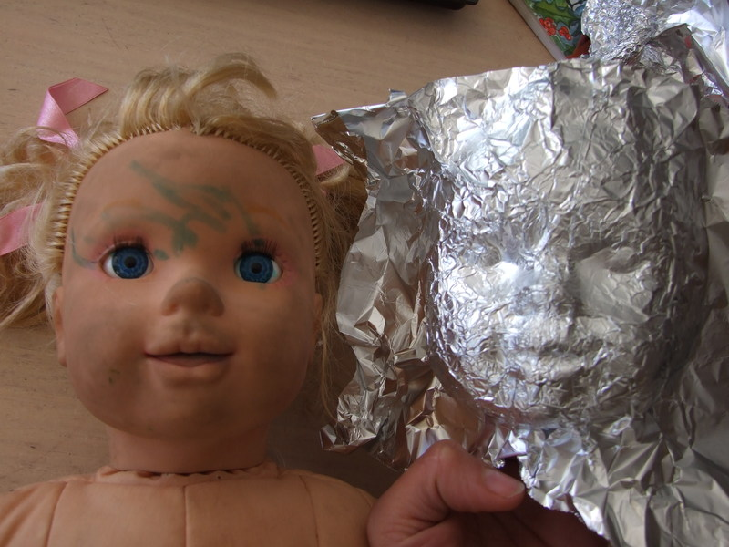 sculpt, doll, face, foil