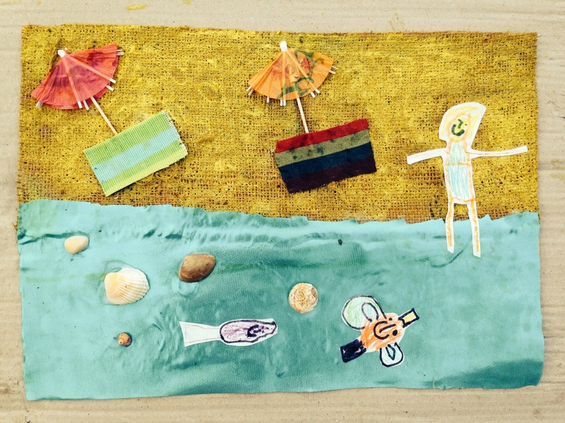 Seaside collage, beach picture, kids material collage, kids sea side picture, texture collage