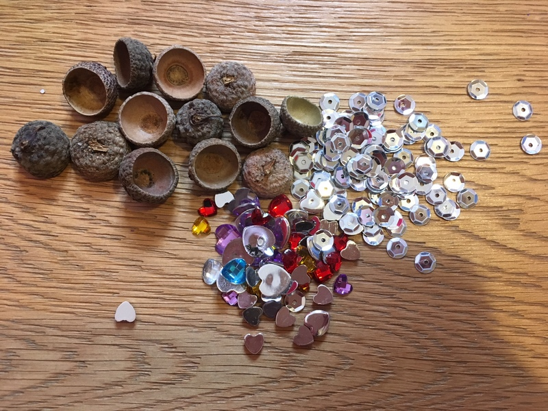 sequins and acorns