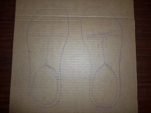 Cardboard Shoes with Shoelaces