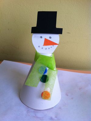 snowman, paper, christmas, decoration, children, kids, craft