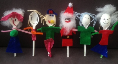 spoon, plastic, people, puppet, preschool, toddler, santa