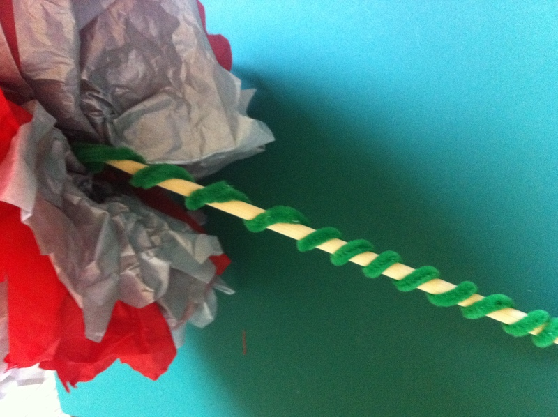 tissue paper, pom pom, flower, gift, bouquet, art, craft, children, kids