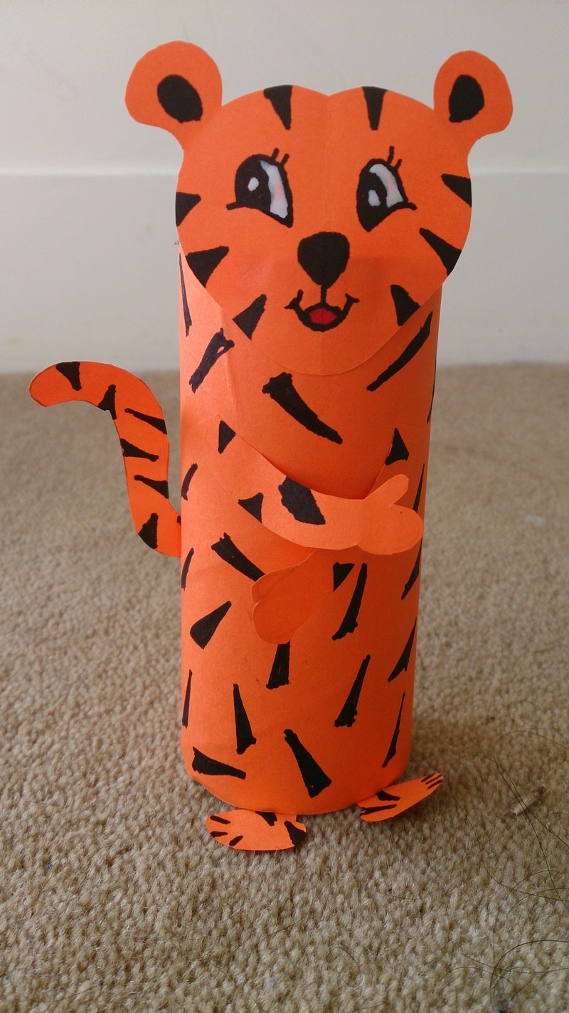 toilet paper roll craft, paper animal craft, crafts for kids, easy crafts for kids, recycled craft, easy DIY crafts  - Toilet Roll Tube Tiger