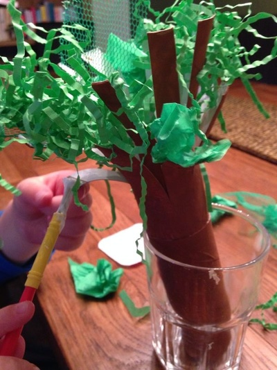Toilet roll craft tree