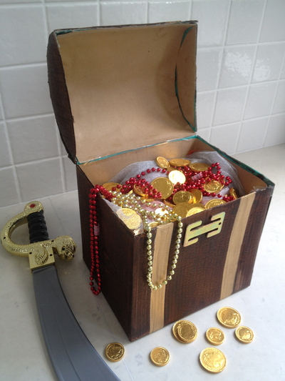 painting pirate treasure chest, gold bands on treasure chest