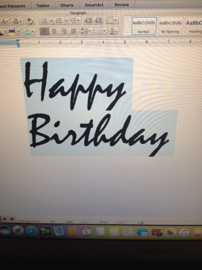 Using Word to help with font for the card