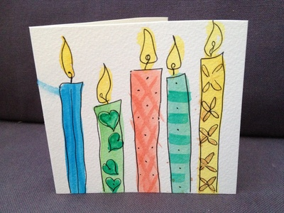 Watercolour, candle, birthday, card, easy