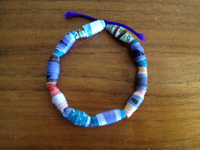 making a bead bracelet, recycled ewellery, homemade bead ideas, how to make beads, making beads form magazines