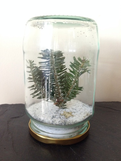 Winter jar, Christmas tree jar, preschooler Christmas scene jar, salt snow tree jar
