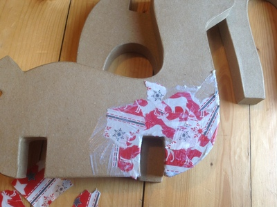 Wrapping paper, reindeer, decoupage, glue